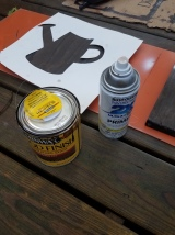 Stenciling a watering can